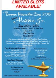 Sign your children up for the ACT's Aladdin Junior summer camp!